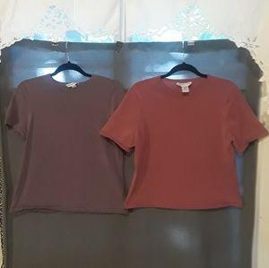 Two plain pendleton tops